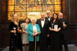 Amy Elliott-Smith (right), Patron Frederick Forsyth, and the other worthy winners of The People's Book Prize 2013. Photograph courtesy of The People's Book Prize.