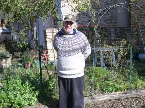 Chilly enough for him to be wearing this handknit
