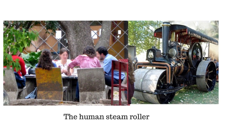 Human steam roller